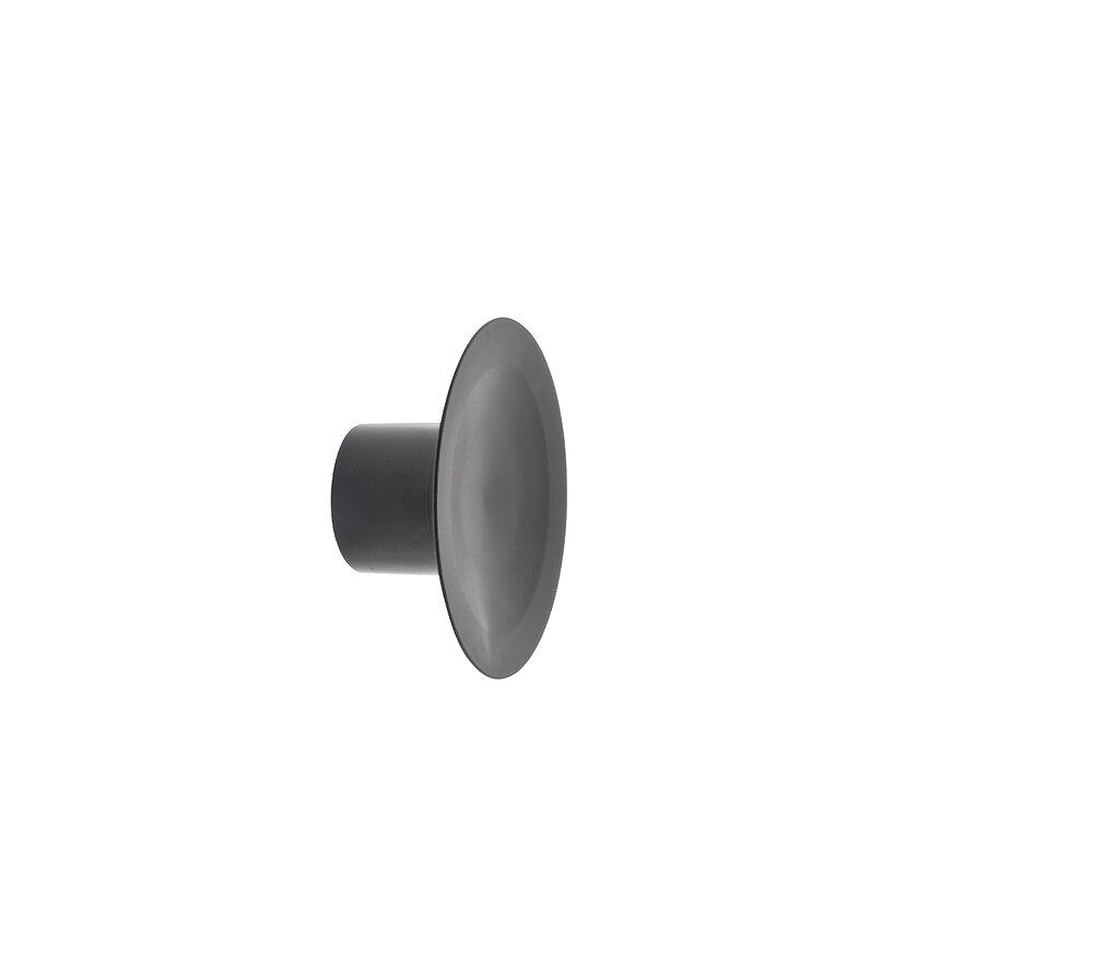 Patère 1 tête à fixer Latex noir D.10cm