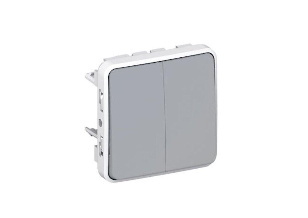 Double interrupteur ou va-et-vient Plexo - Gris