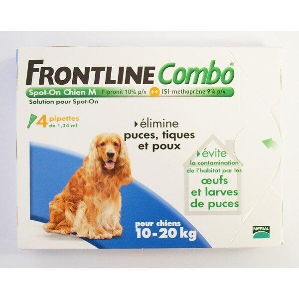 4 pipettes antiparasitaires FRONTLINE COMBO Spot-On chien M 10 à 20kg