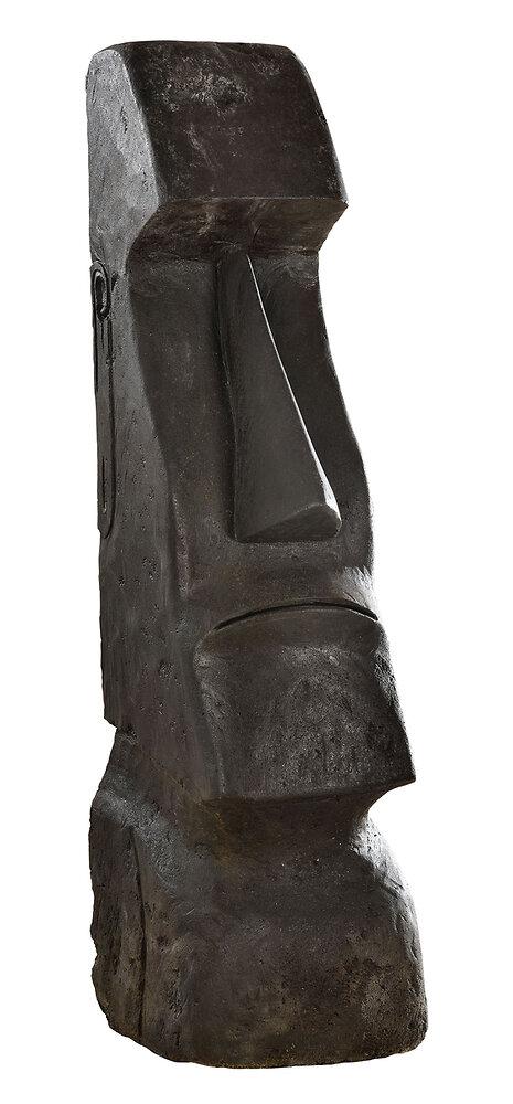 Statue Moaï, ton ciré noir, 180 x 44 x 50 cm