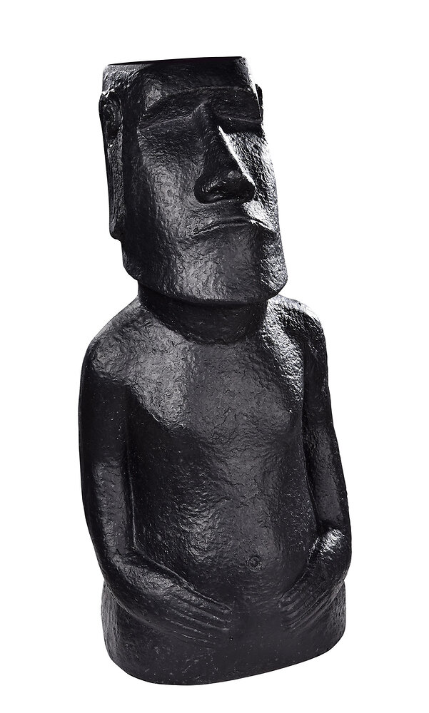 Statue Moaï, ton ciré noir, Ht. 60 cm