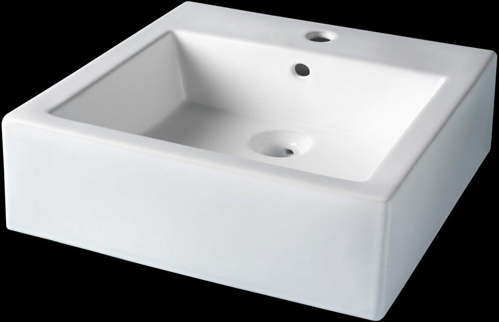 Vasque à poser céramique blanc forme carrée