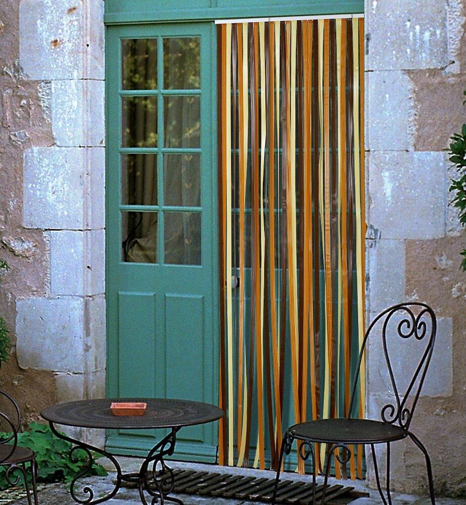 Rideau de porte lanières Antilles brun/beige