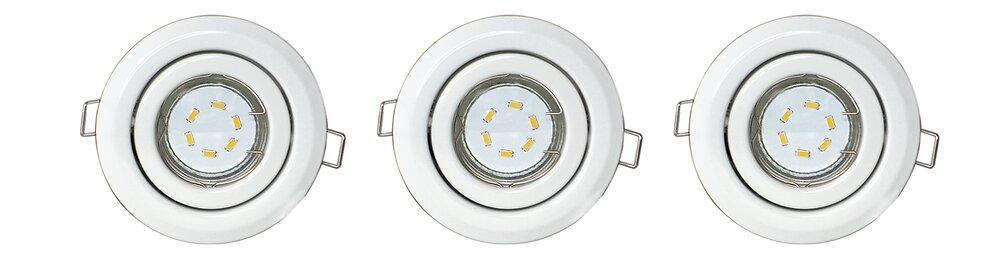 Kit spots encastrés orientables blancs GU10 LED 3x3W 230V
