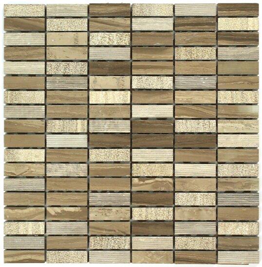 Feuille 300x300 bqs 15x48x8 marbre athens marron poli martelé rainure