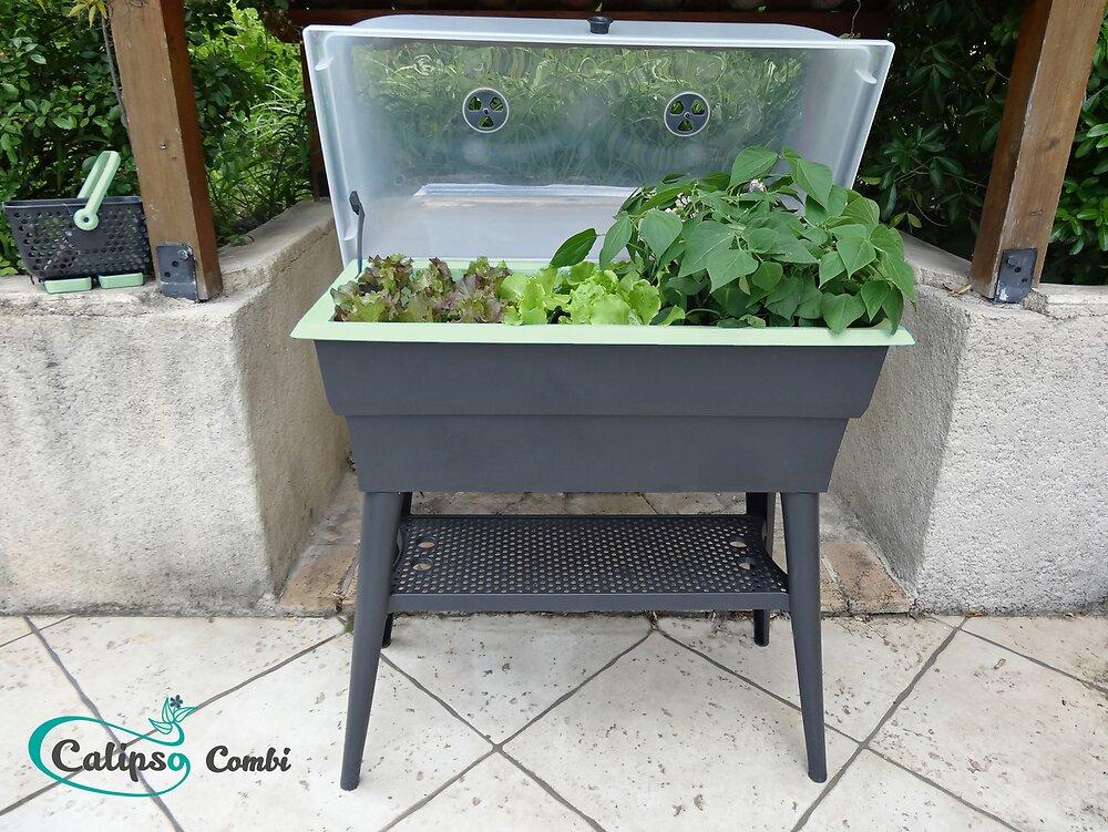 jardinière calipso combi 40l gris/tilleul.