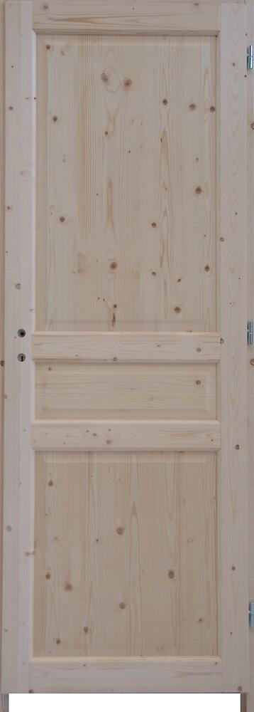 Bloc-porte Sapin 3 panneaux 204x63 Poussant gauche