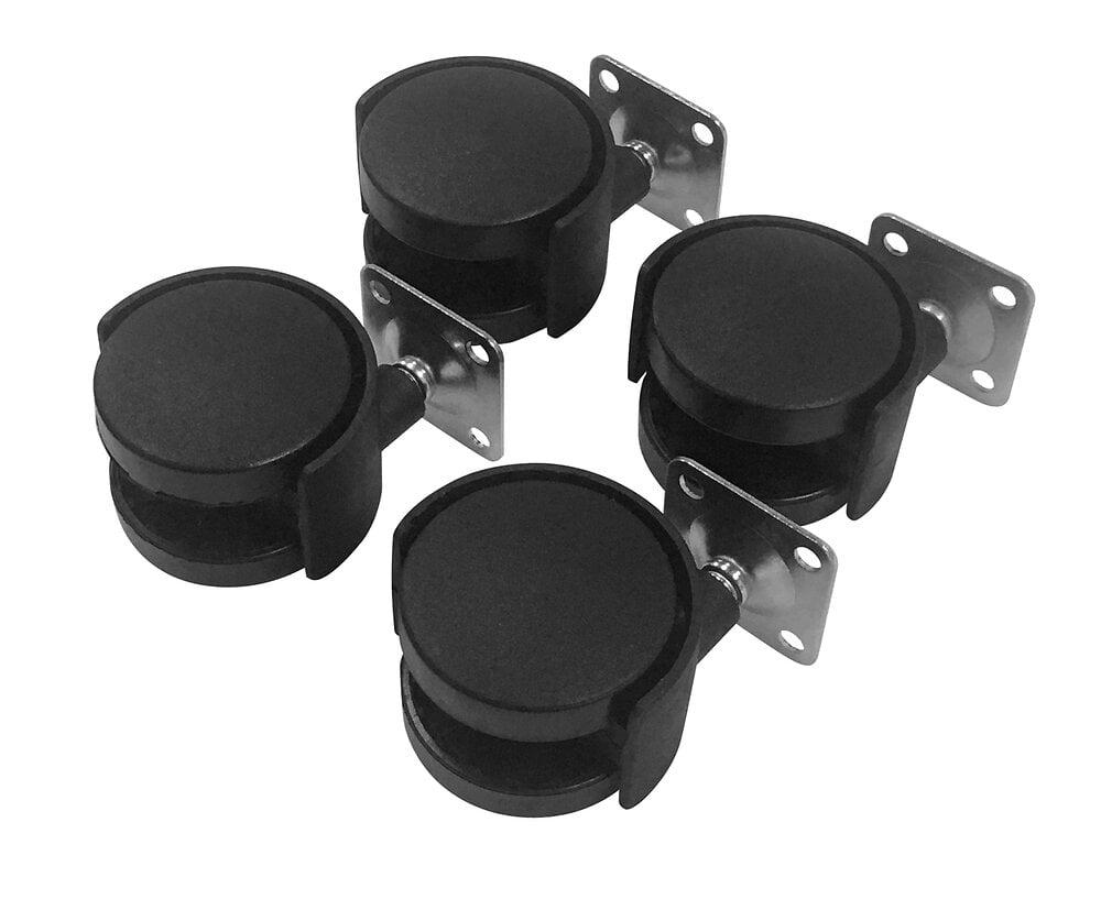 Lot de 4 roulettes pivotantes noires diamètre 50 mm GO/ON