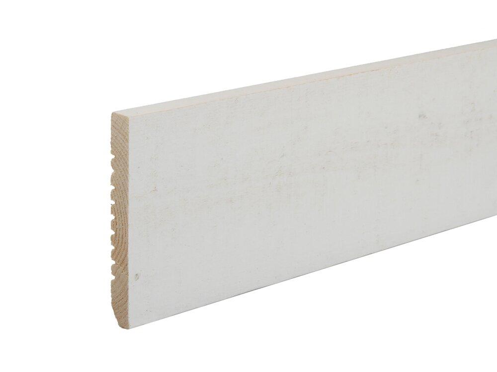 Plinthe Sapin brossé Peint blanc 10x70 L.2.05m