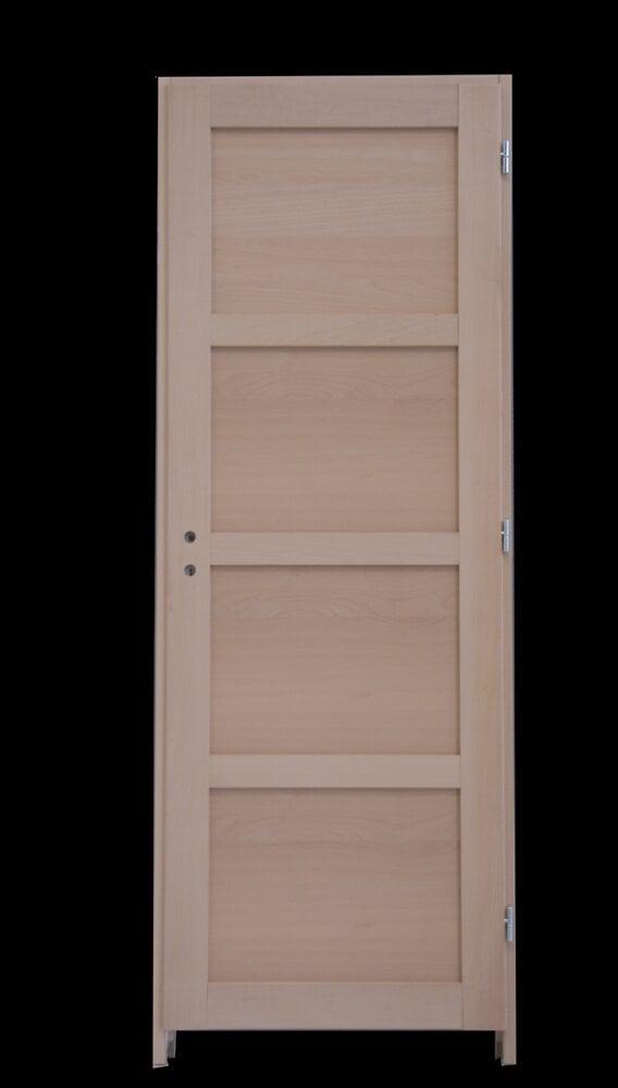 Bloc-porte Hêtre 4 panneaux 204x83 Poussant gauche