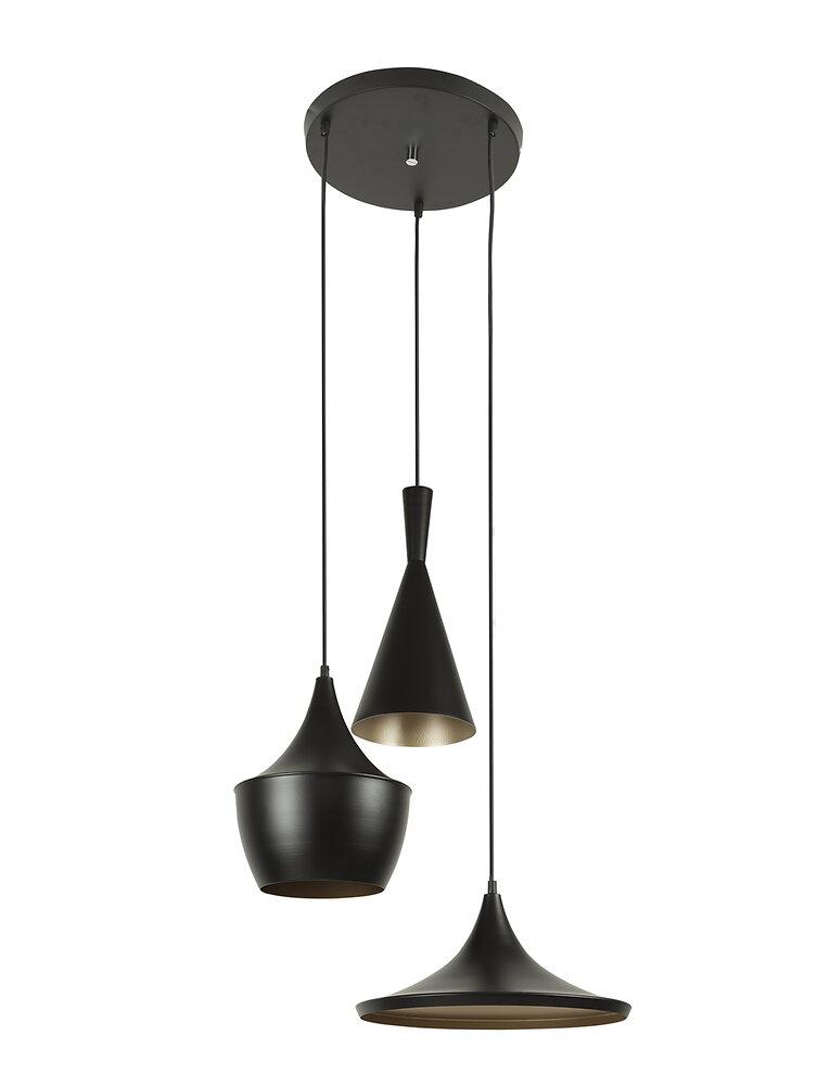 Plafonnier indus 3 lampes noir E27 40W