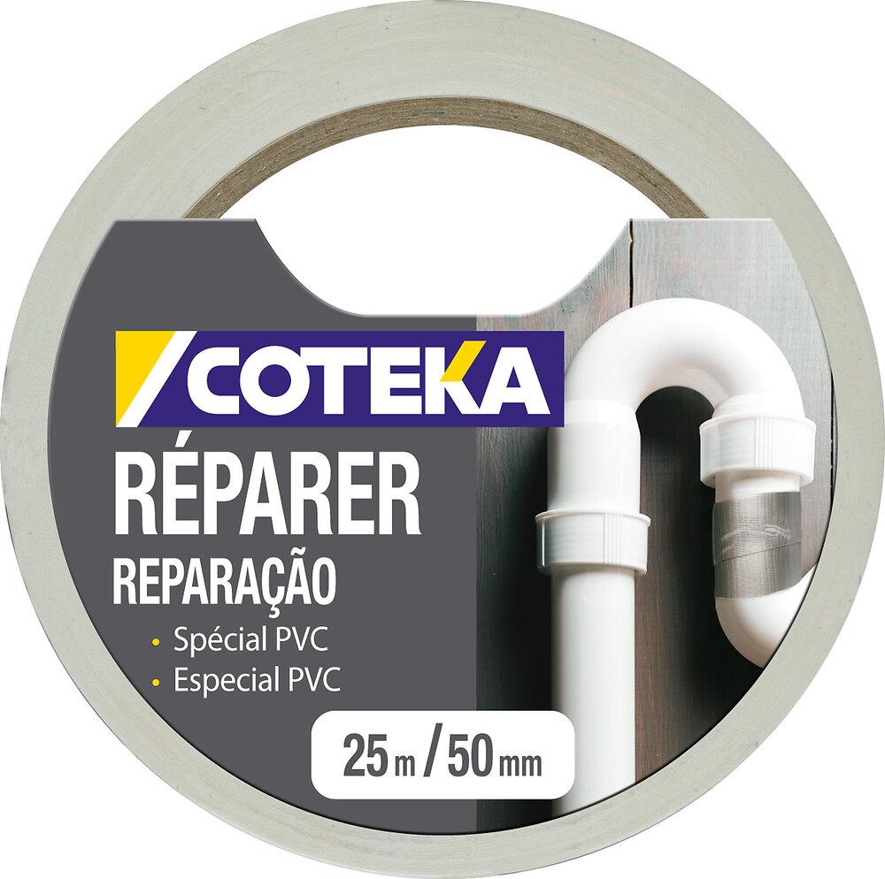 Adhésif réparation PVC multi-usages blanc 25mx50mm