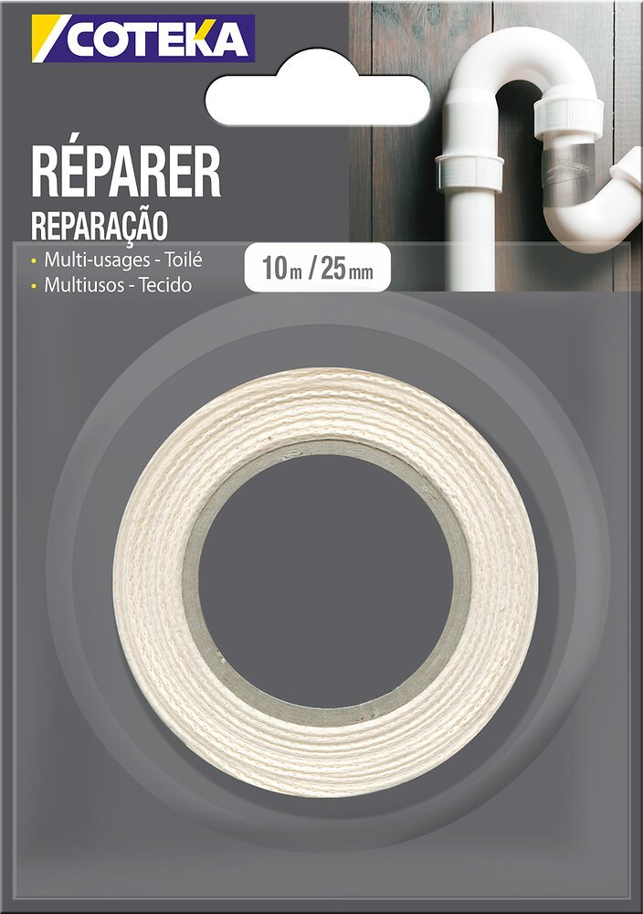 Adhésif de réparation coloris blanc 10mx24mm