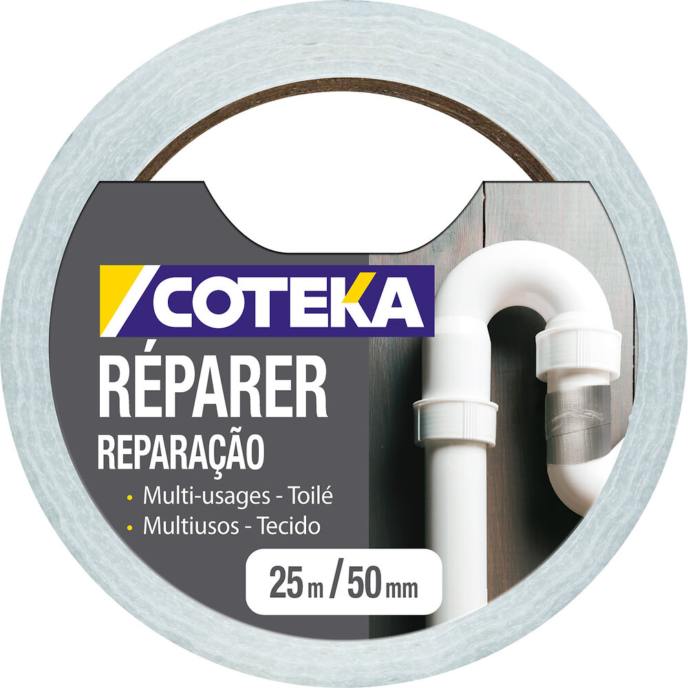 Adhésif de réparation coloris blanc 25mx48mm