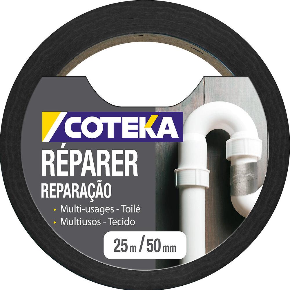 Adhésif de réparation coloris noir 25mx48mm