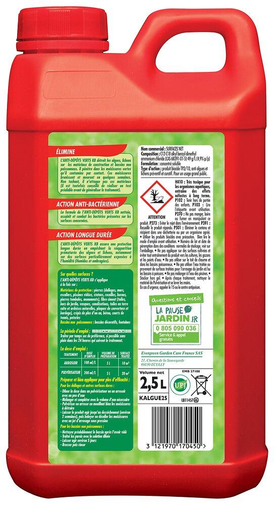 Anti dépôts verts, algues et lichens KB - 2,5 L