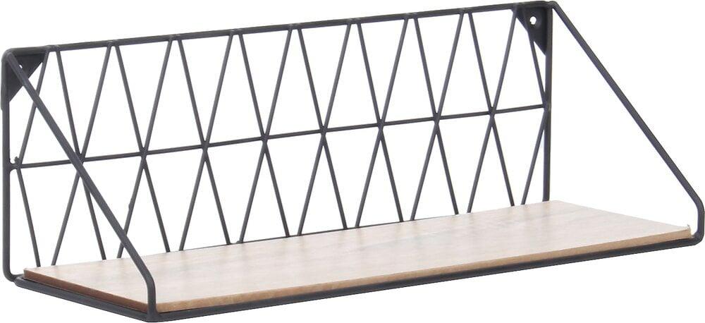 Etagère rectangle filaire 40x12x13cm métal bois noir
