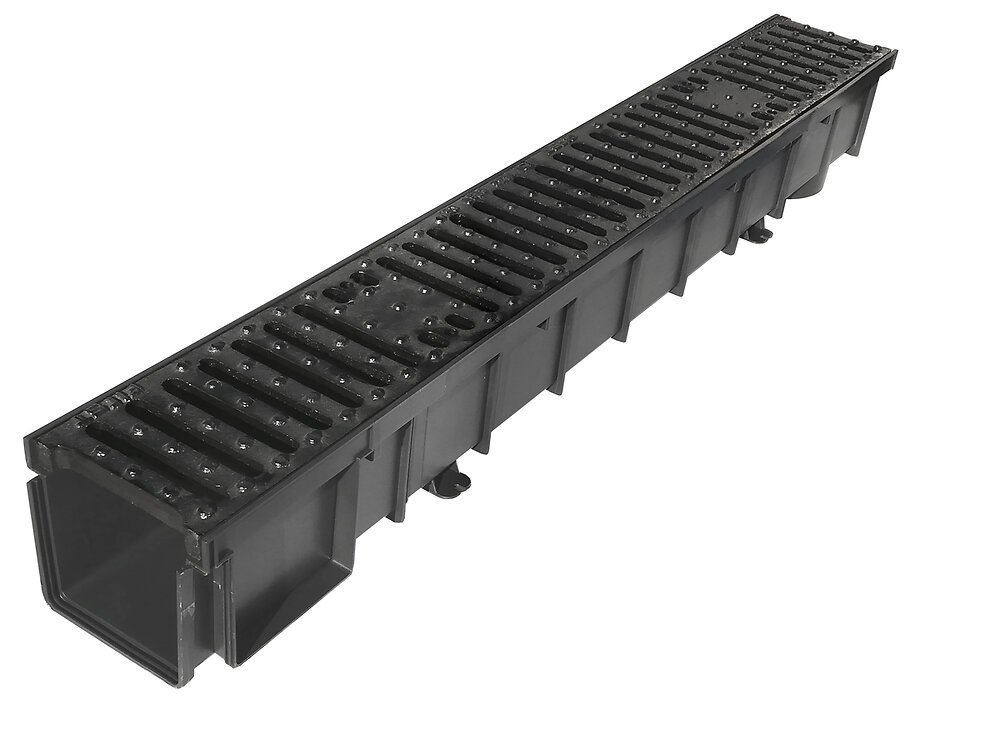 Caniveau polypropylène largeur 100 grille fonte 125kn