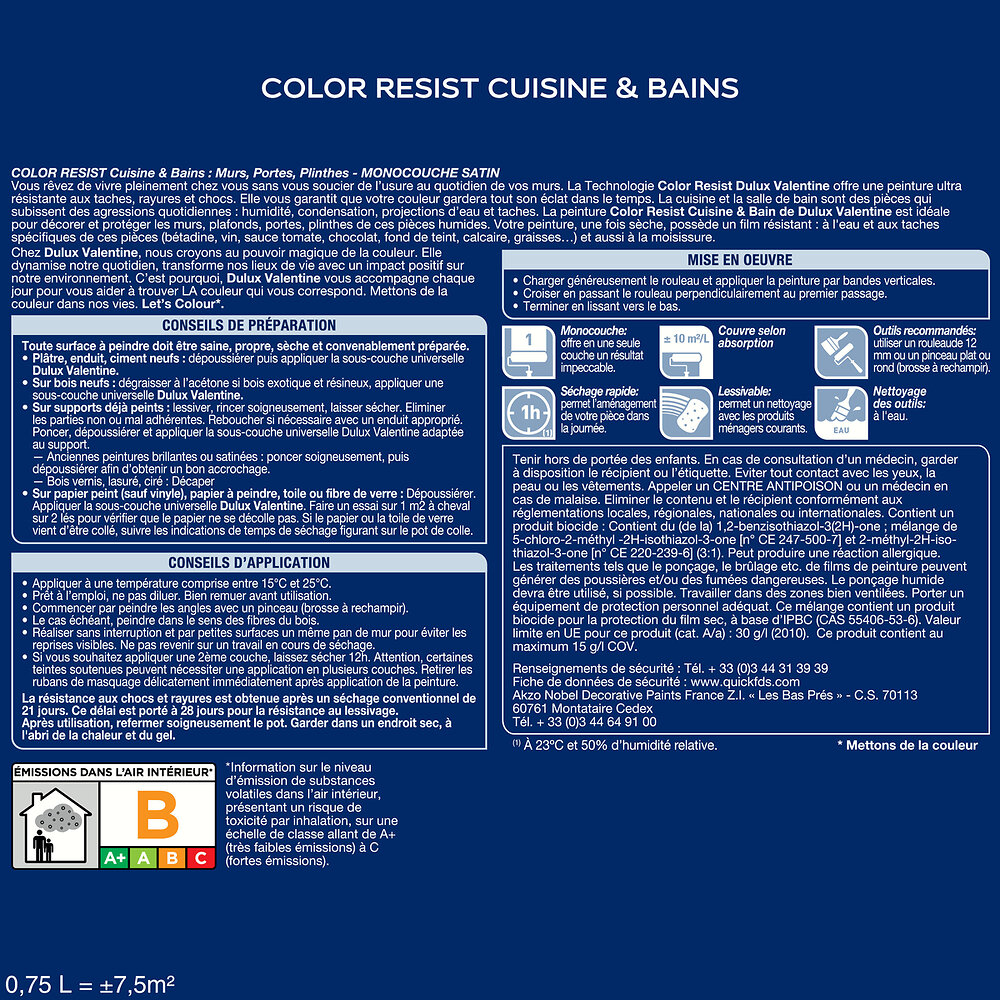 Peinture Color Resist Cuisine et Bains SATIN Blanc 0.75L