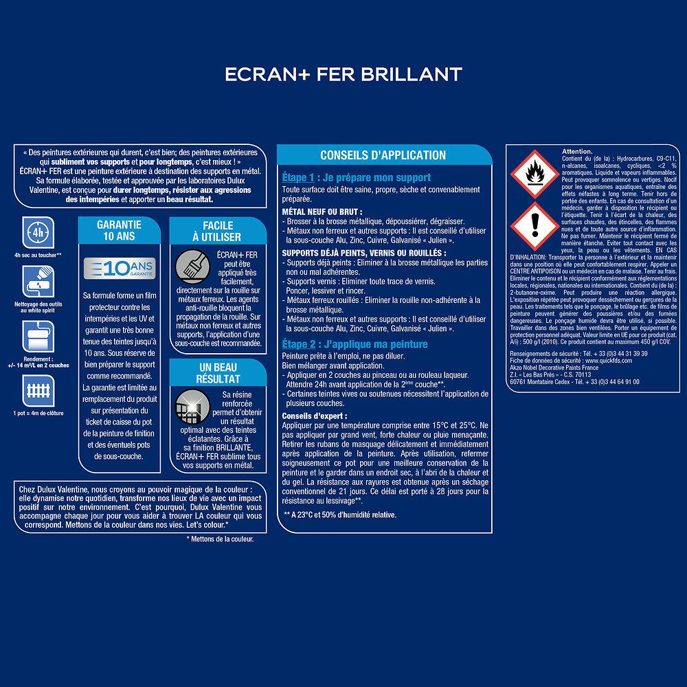 Ecran+ Fer DULUX VALENTINE Vert Basque RAL 6005 brillant 0,25L