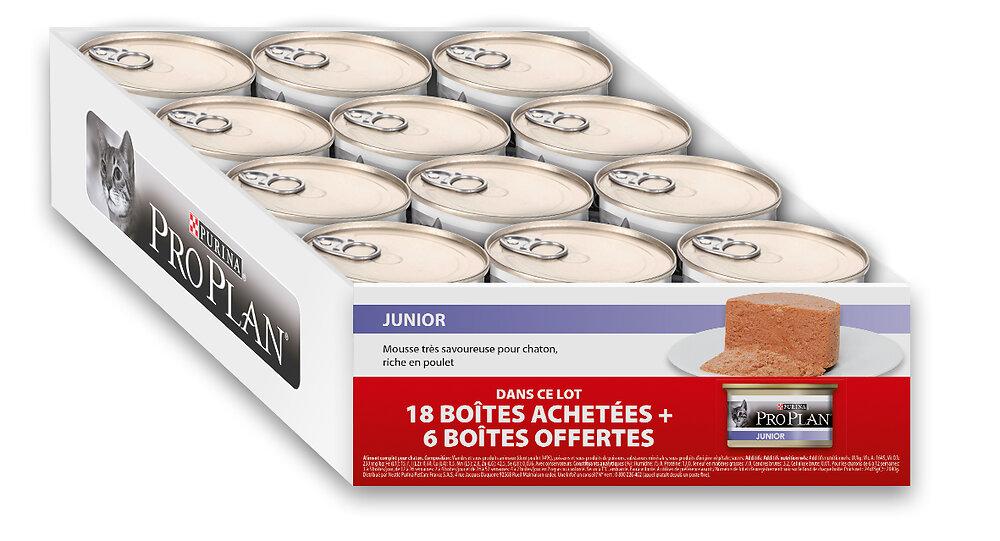 Boite repas chaton - Mousse Poulet - 18 boites 85g + 6 gratuites