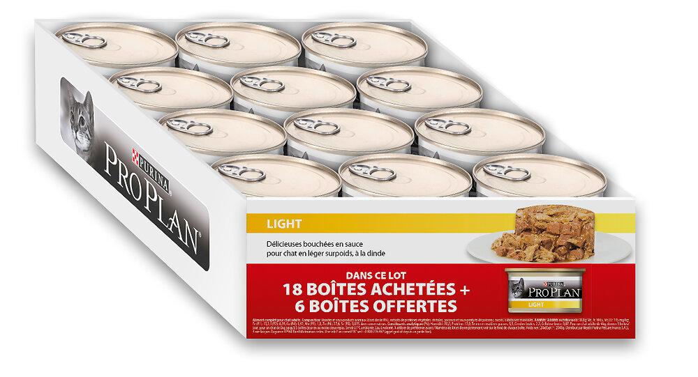 Boites chat LIGHT - Bouchées en sauce - Dinde 18 boites 85g + 6 grat.