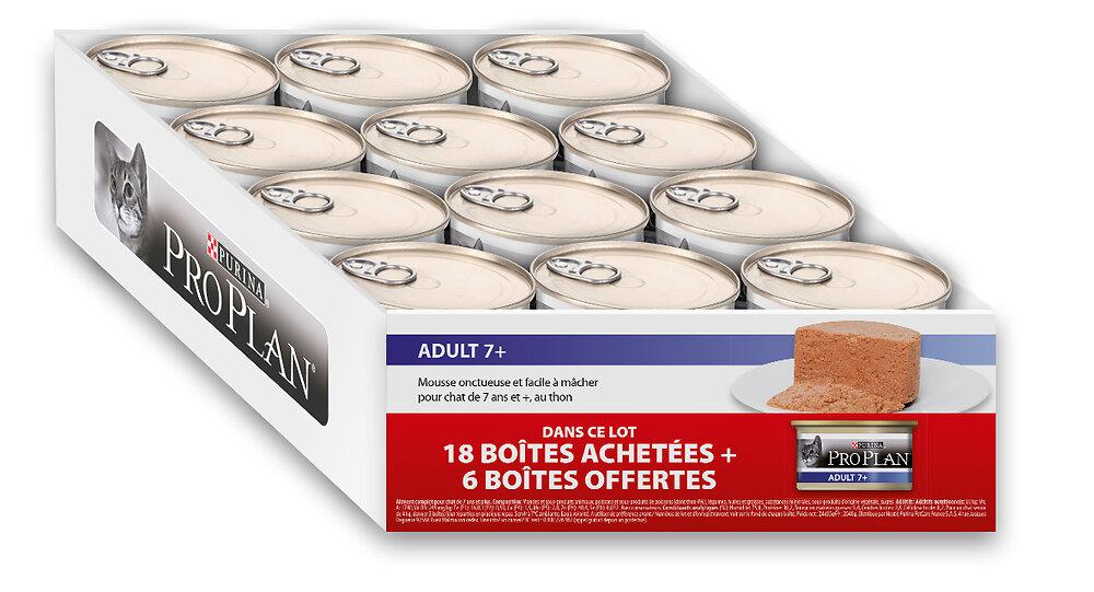 Boites chat adulte 7+ - Mousse au thon - 18 boites 85g + 6 gratuites