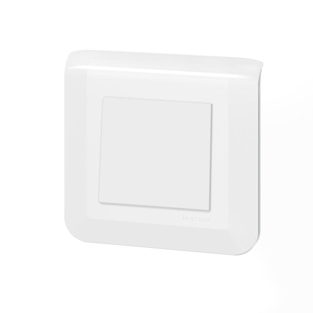 Poussoir simple Mosaic 6A blanc complet avec plaque