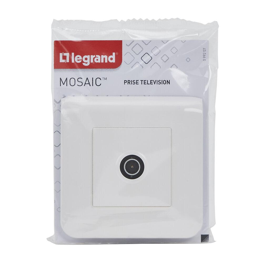 Prise TV Mosaic simple mâle blanc avec plaque