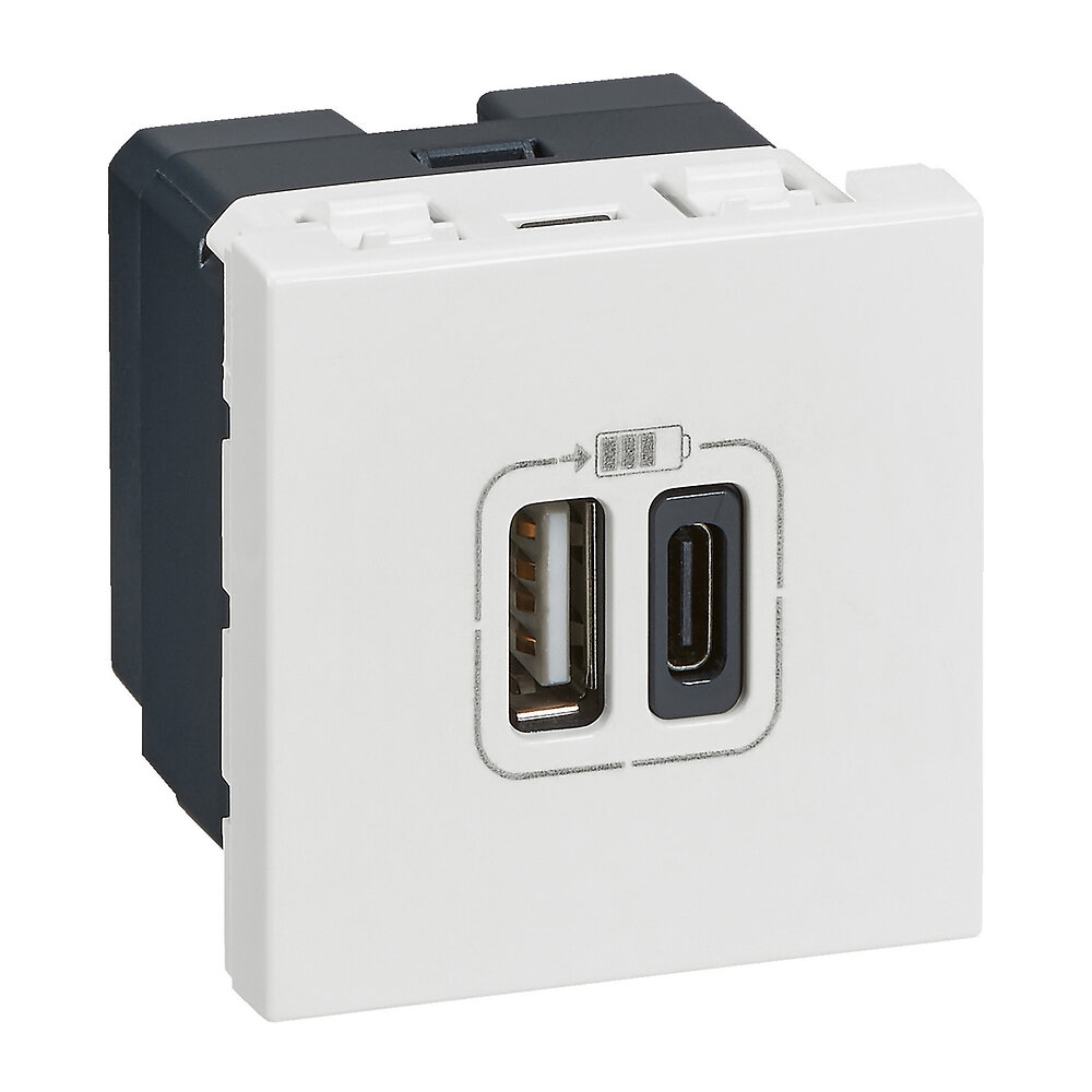 Double chargeur USB Type-A + Type-C Mosaic 3A 2 modules - blanc