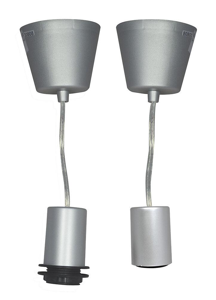 Monture plastique douille E27 + bague 60W maxi argent