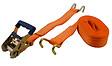 Sangle à cliquet polyester orange 50mmx7.5 m + 0.5m + crochets pointe