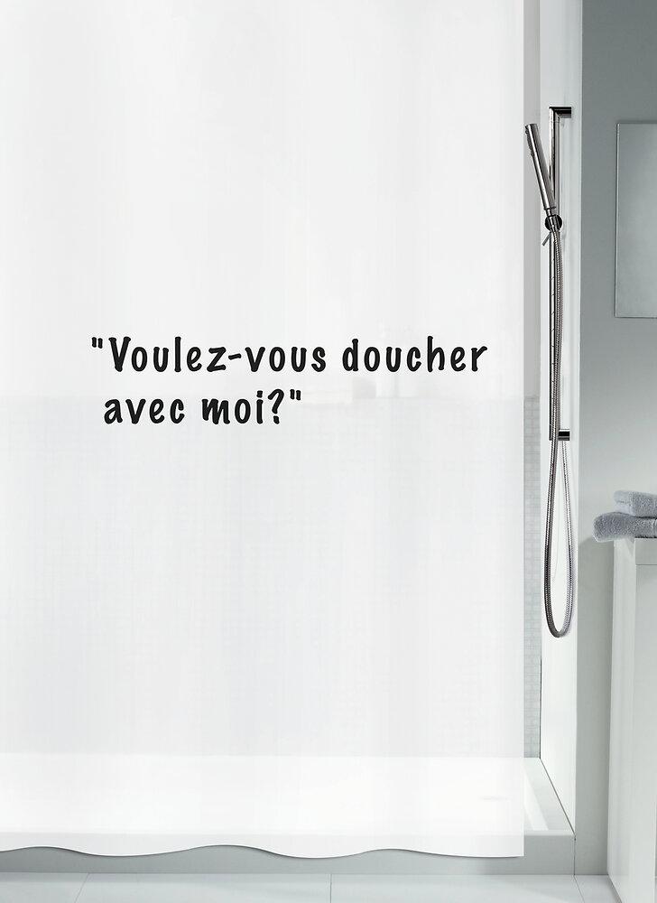 Rideau de douche SPIRELLA Voulez-vous blanc PEVA 180 cm x 200 cm