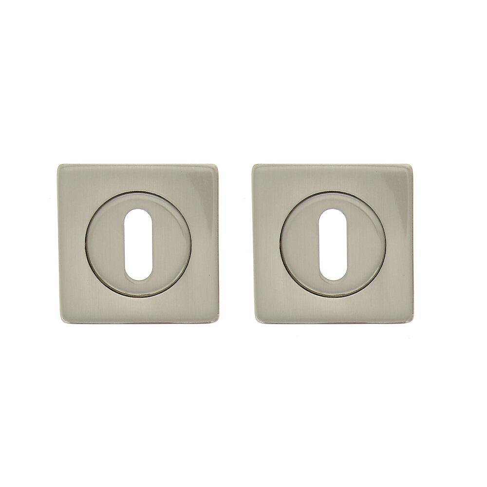 2 rosaces carrées à trou de clé en acier nickel mat