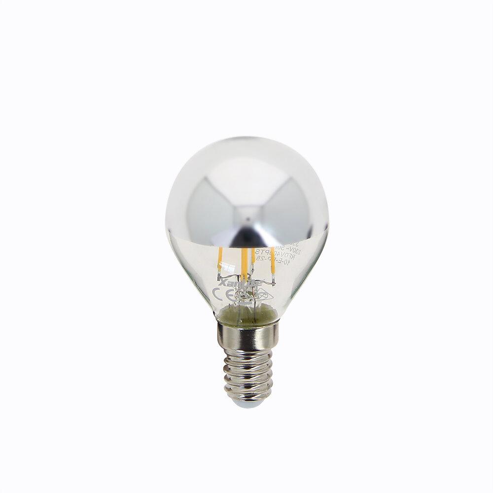 Ampoule led spherique P45 sylver top culot E14 3.8W 2600K