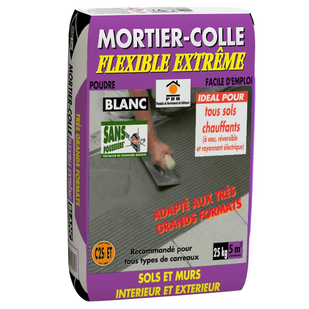 Mortier-colle flexible extrême blanc 25kg