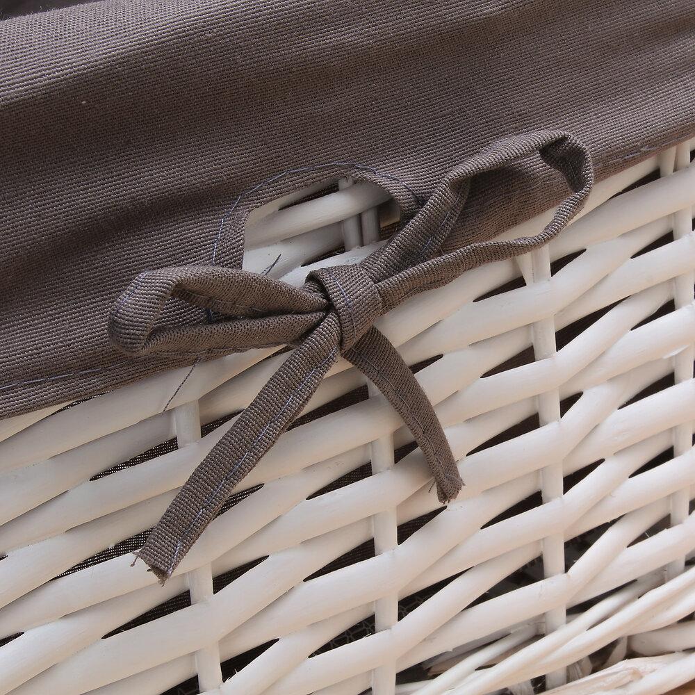 Tiroir en osier blanc avec housse marron