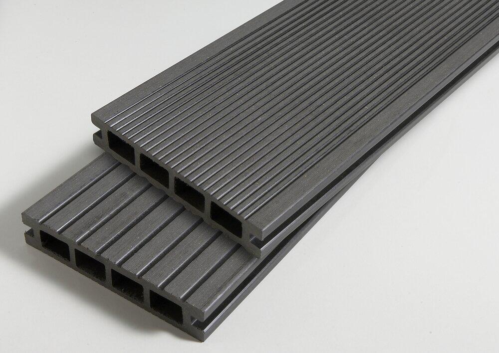 Lame terrasse composite 240x14x2.5cm Ebony REVERSO