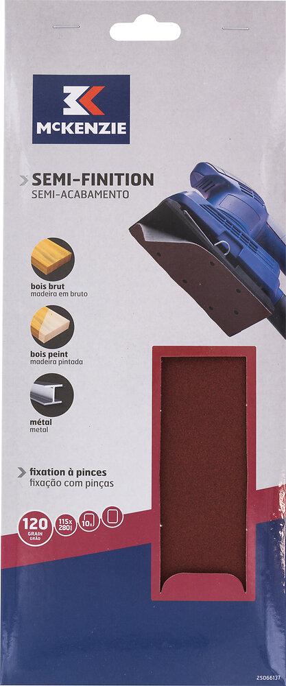 Patin rectangulaire à pince 115x280mm grain 120 lot de 10