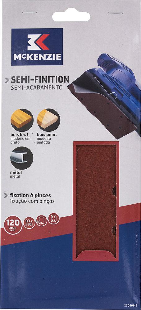 Patin rectangulaire à pinces 93x230mm grain 120, 8 trous