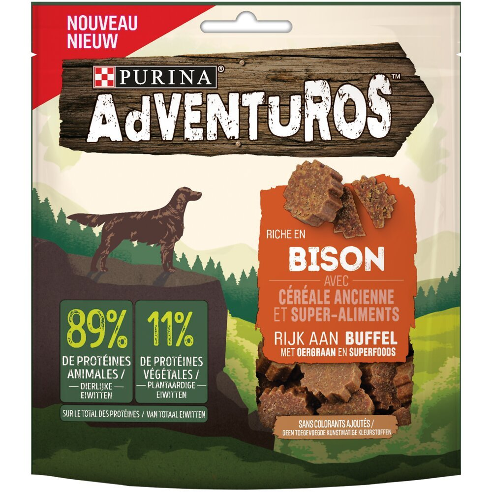 Snacks Chien adulte Bison céréales super-aliments 90g