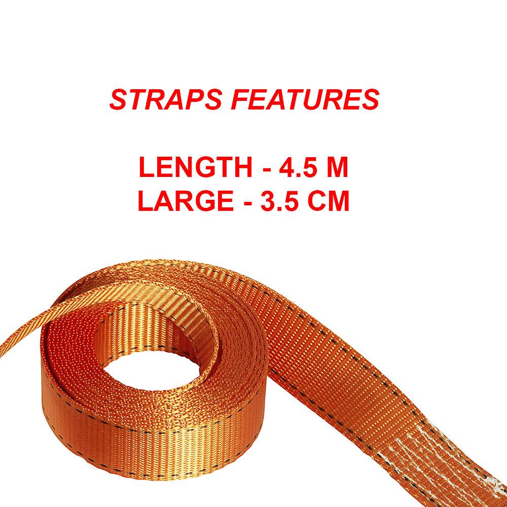 Sangle d'arrimage avec crochets en J et cliquet L.450xl.3.5cm