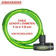 Cable antivol vélo à clé L.100xd.1.8cm