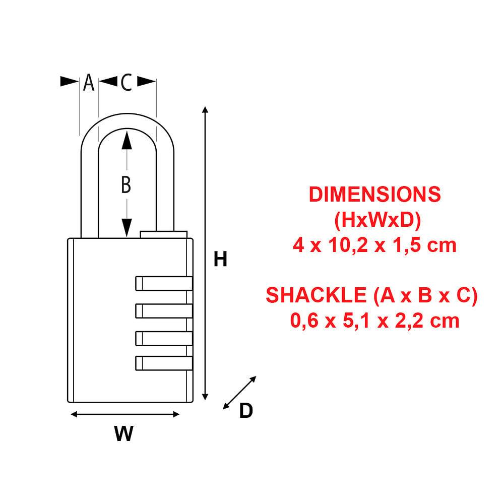 Cadenas à combinaison programmable alu 40mm anse d.6xh.51mm
