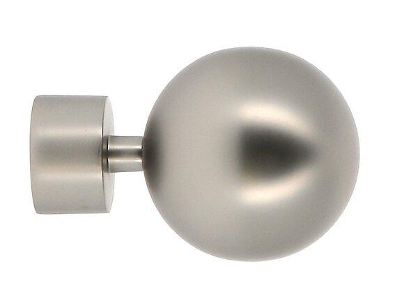 Embout tringle à rideaux, boule diamètre 28mm chrome mat