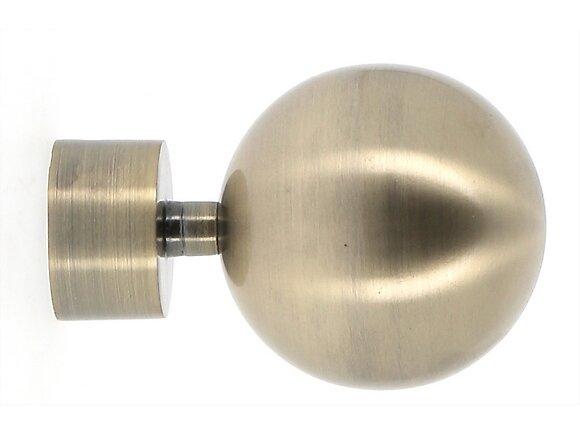 Embout tringle à rideaux, boule diamètre 28mm métal doré vieilli