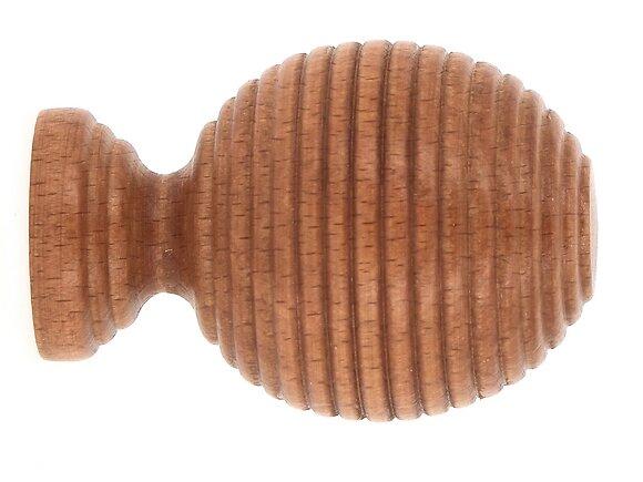 Embout tringle à rideaux, boule striée diamètre 28mm merisier