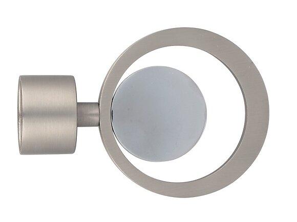 Embout tringle à rideaux, cercle mix diamètre 28mm chrome mat