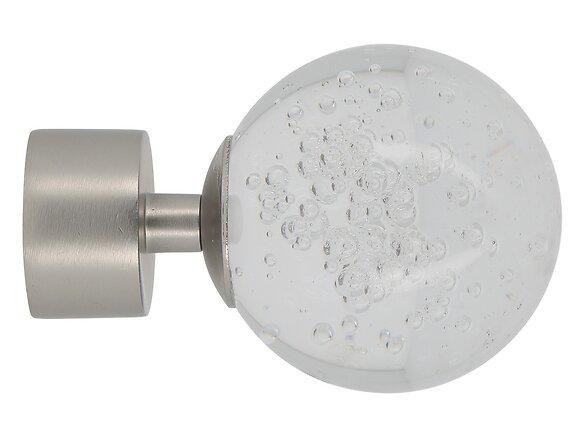 Embout tringle à rideaux, boule verre diamètre 28mm chrome mat