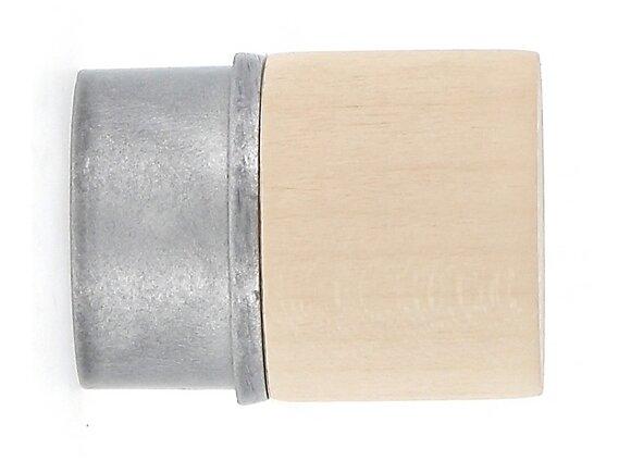 2 embouts tringle à rideaux, bouchon diamètre 28mm érable-gris zingue